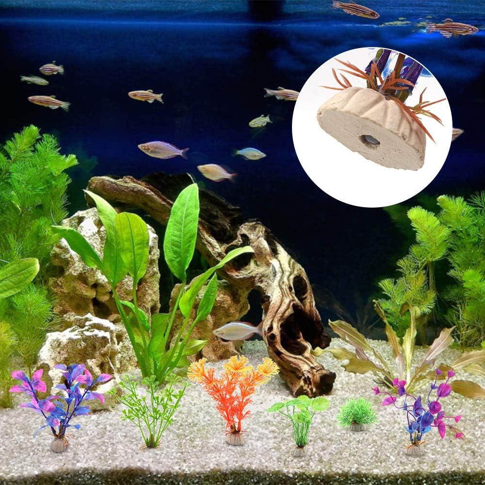 Huayue 15 PCS Plastic Fish Tank Plants Assorted Sizes Colors Shapes Artificial Aquarium Aquatic Plant Decoration Aquarium Landscape Realistic Water Plant for Aquariums Decorations