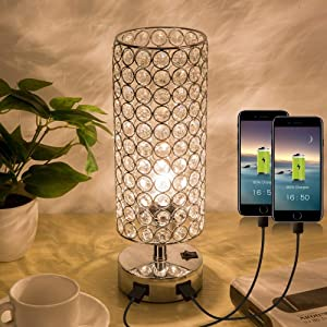 ZEEFO Crystal Table Lamp, Elegant Decorative Bedside Table Lamp Built in Dual USB Charging Ports and Press Switch, Nightstand Lamp Ideal for Bedroom, Guest Room, Living Room