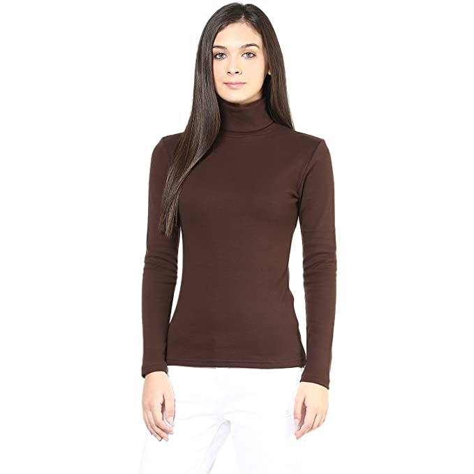 Hypernation Brown Color High Neck T-Shirt for Women  Amazon.in ... 78c2ce8c5
