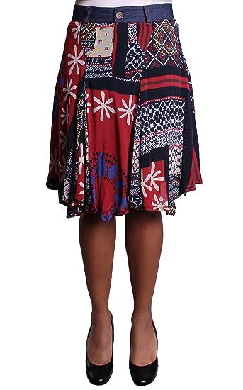 Desigual - Falda - para mujer Rojo rosso 38: Amazon.es: Ropa y ...