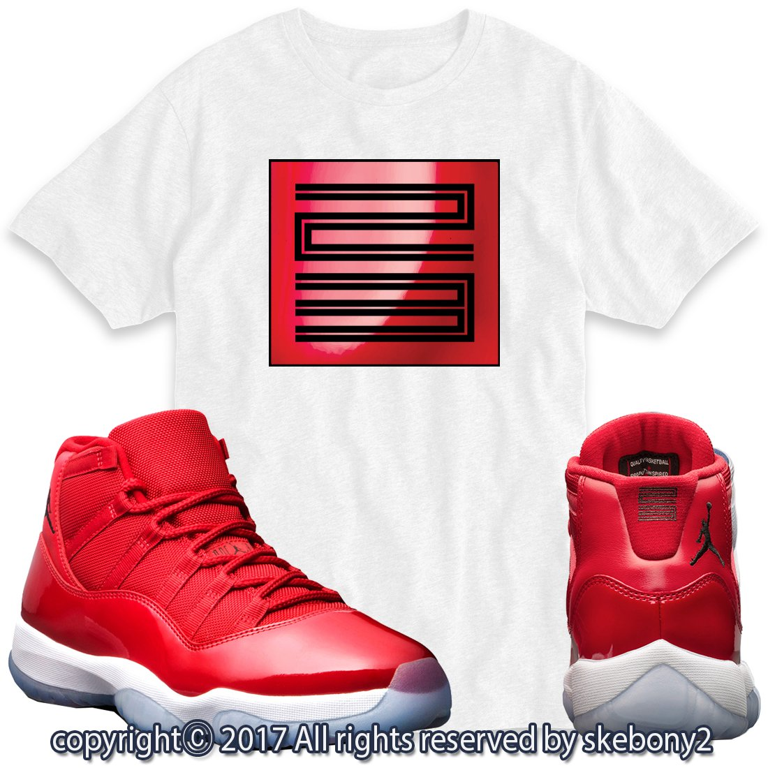 buy popular 72873 4c0e9 Custom T Shirt Matching AIR Jordan 11 Win Like 96 Matching TEE Bulls red  JD-11-3-4