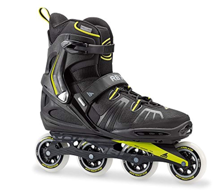 Rollerblade RB XL Skates Black/Lime 32 & Headband Bundle