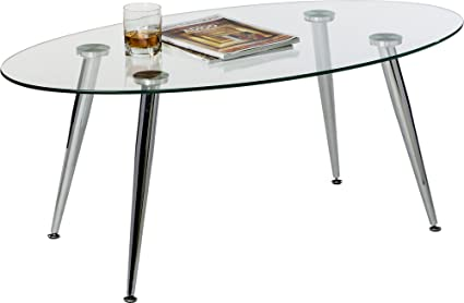 Amazoncom Mango Steam Pacifica Coffee Table Oval Clear - Chrome base glass top coffee table
