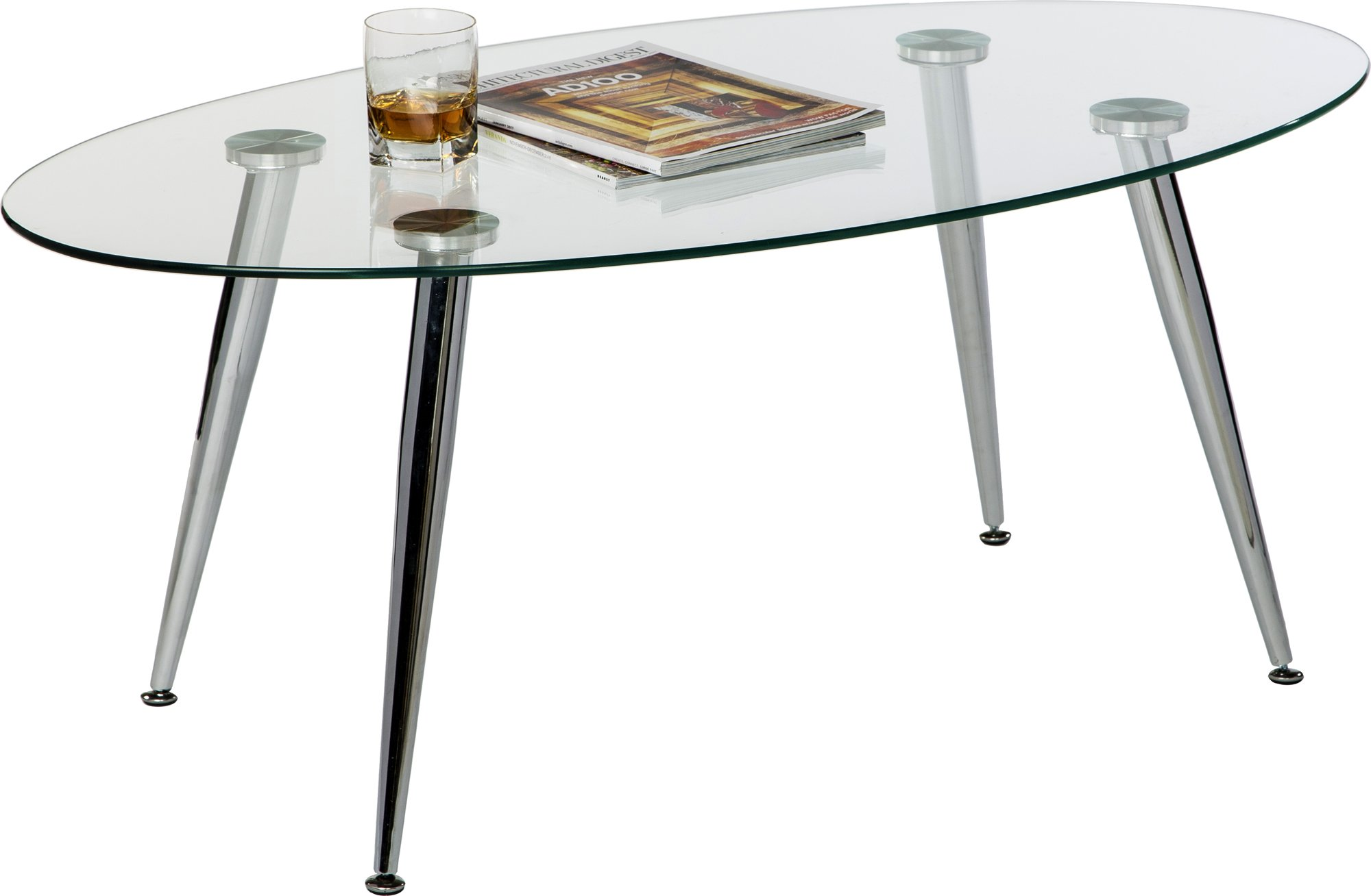 Mango Steam Pacifica Coffee Table - Oval - Clear Tempered Glass Top and Chrome Tube Base
