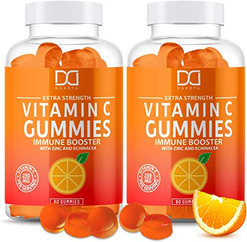 Vitamin C Gummies with Zinc for Immune Support Booster Supplement for Adults Kids, Immunity Support System – Gluten Free, Organic, Vegan, Citrus Orange Pectin Gummy – Promotes Health Wellness 2 Pack