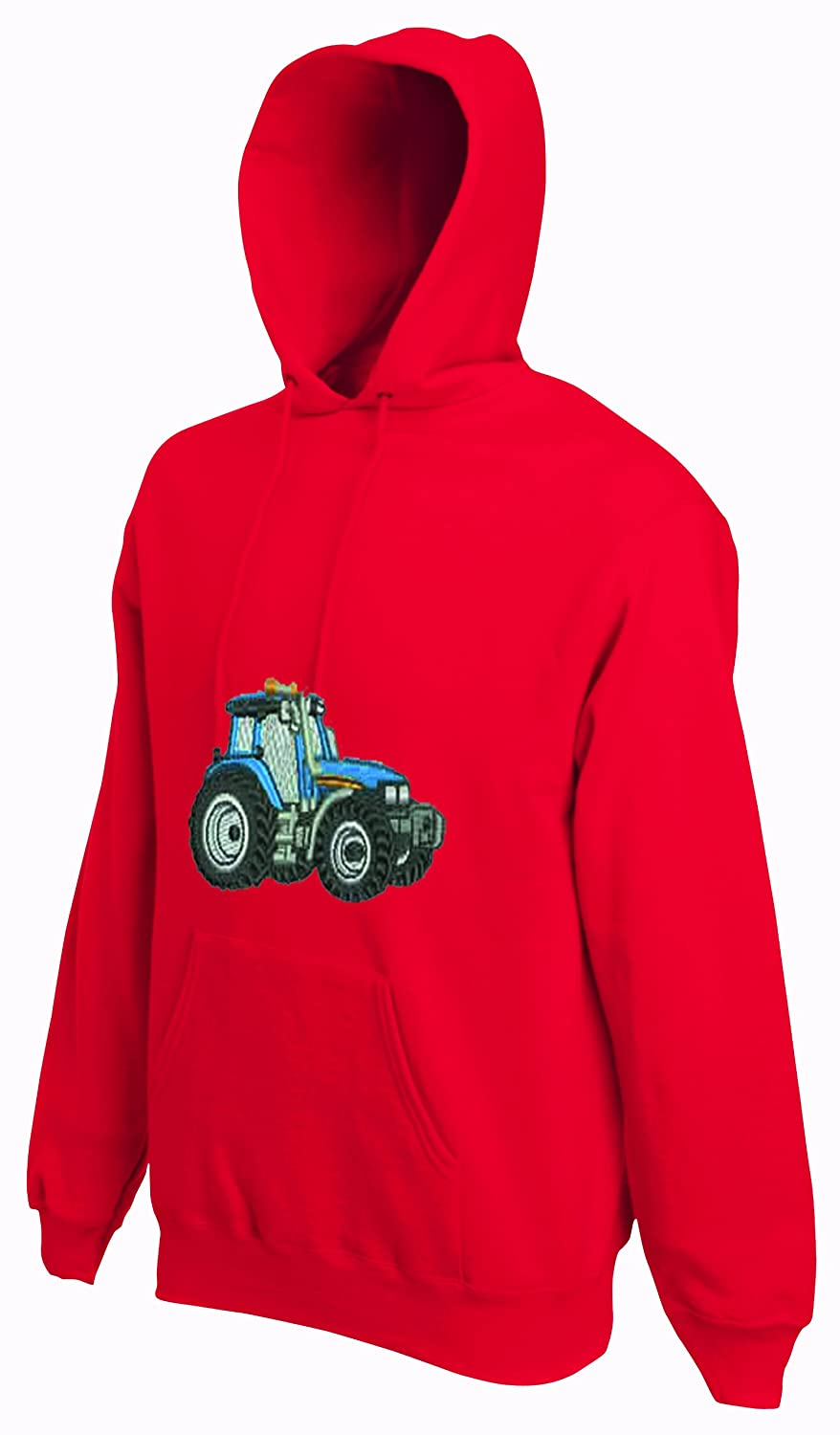 CUSTOM-FUNKY Childrens Embroidered Blue Tractor Hoodie