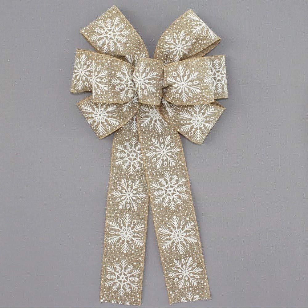 wreath bow specialty bow hand painted wood slice hand tied bow House warming bow rustic bow