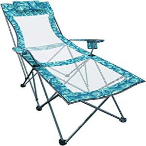 Recliner Camping Chair with Footrest Mesh Adjustable Lounge Folding Chair for Outdoor Portable Lightweight Office Chair with Pillow Cup Holder 300lbs Weight Capacity
