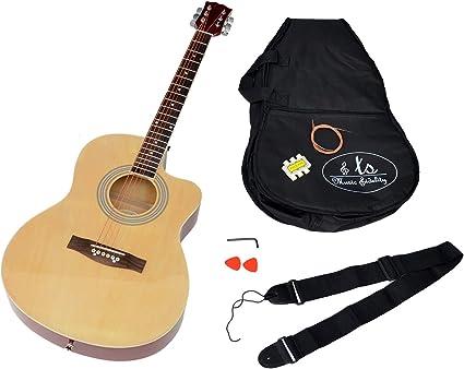 Ts-ideen - Guitarra acústica (tamaño 4/4, mástil de madera de ...