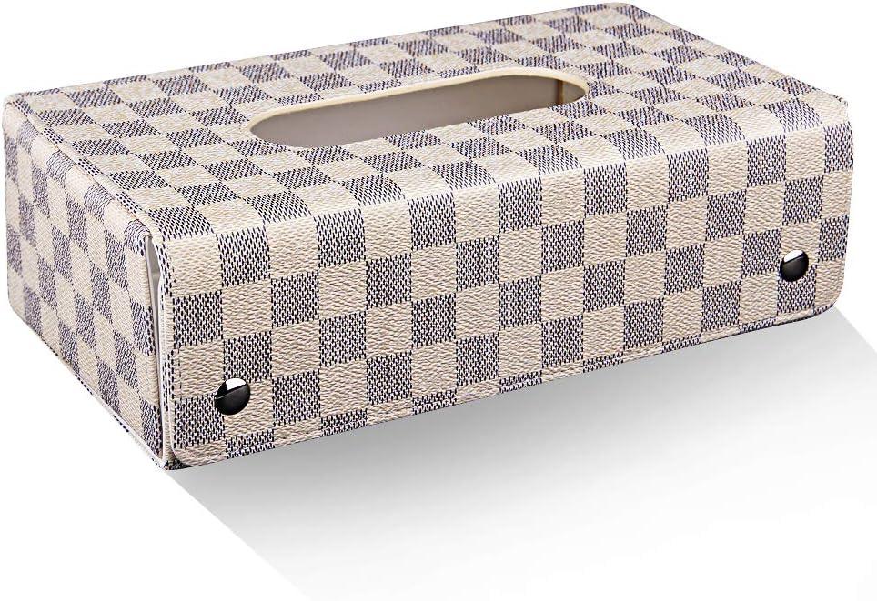 ティッシュ ケース ティッシュ ボックス ティッシュ カバー レザー 革 高級風 蓋付き チェック柄 格子柄 (2)