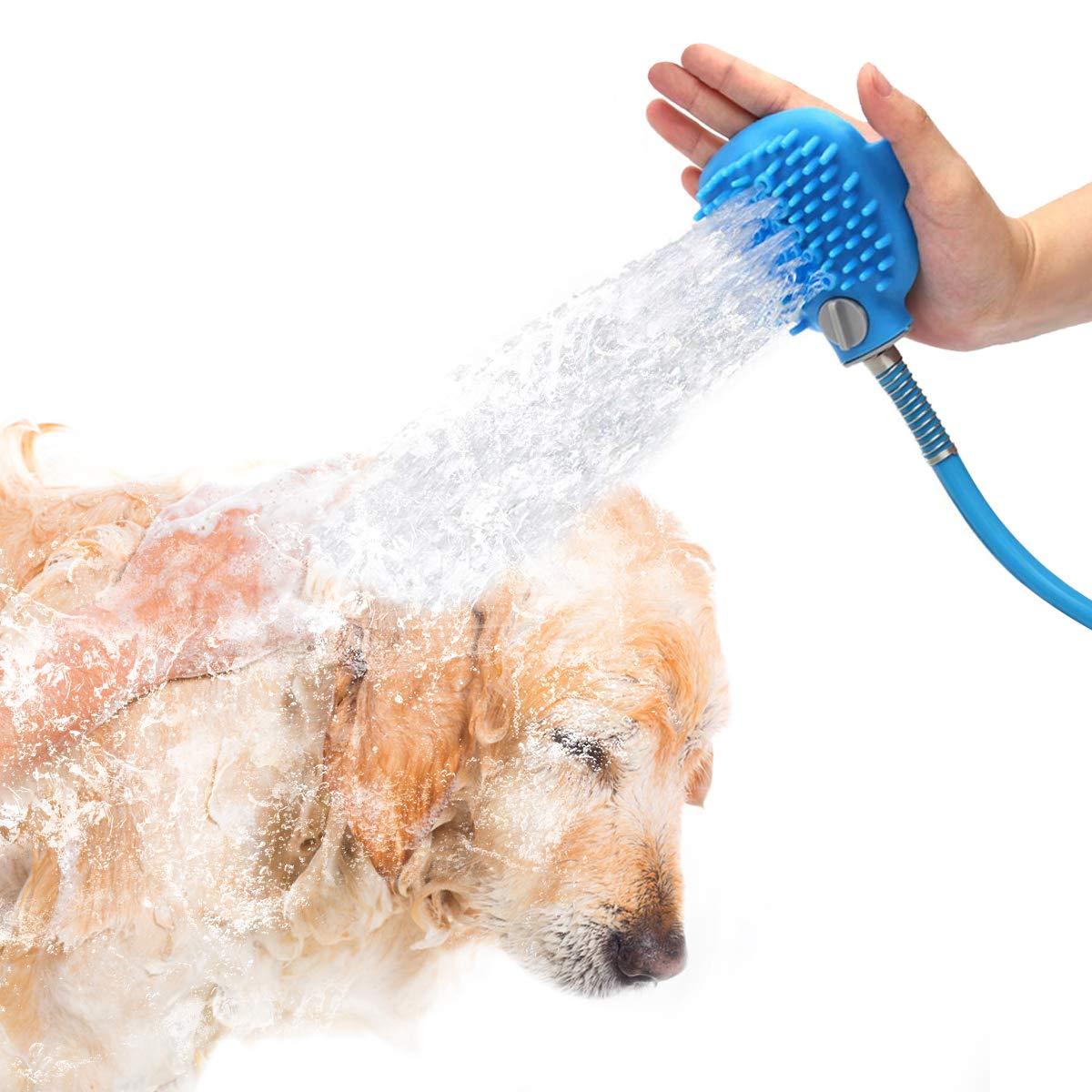 PETRIP Bathing Tool Dog Massage Brush Pet Shower Sprayer Grooming Shedding Bath for Dog Cat Outdoor Use