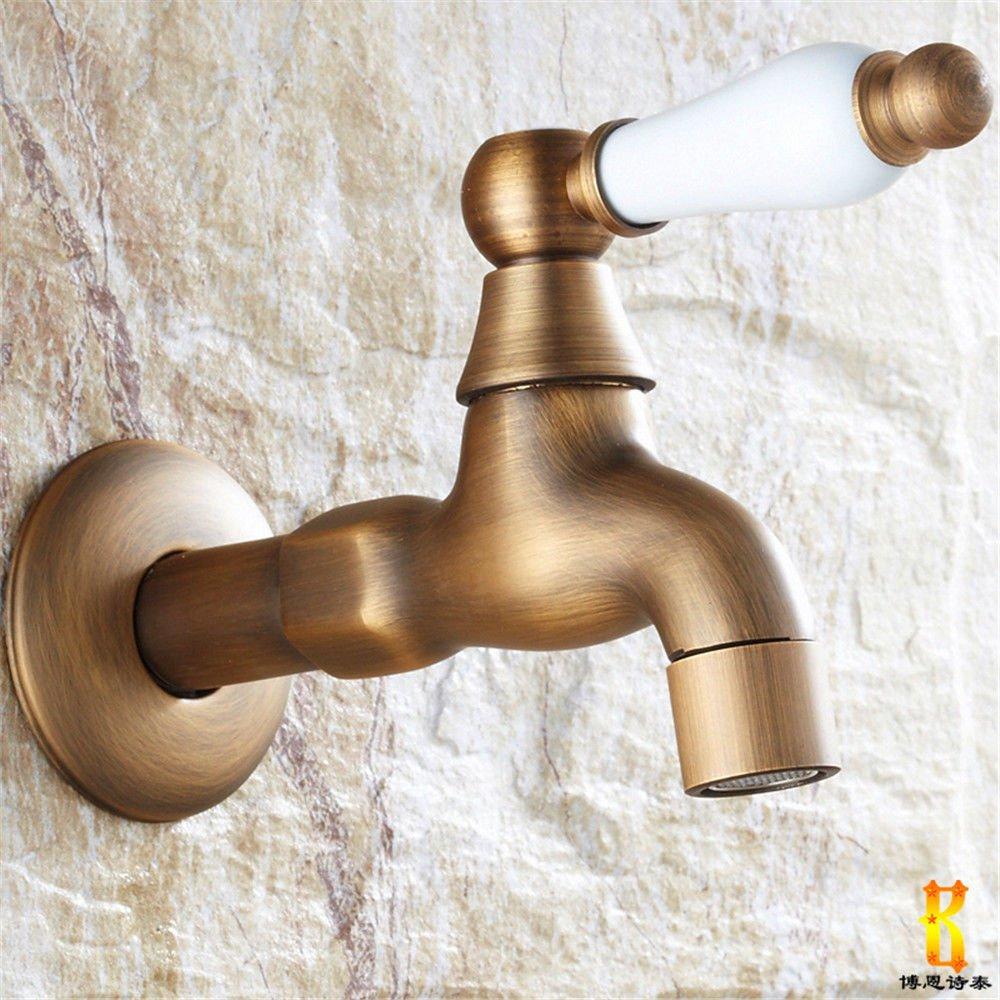 Home Tap Antique gebürstet Waschmaschöne Wasserhahn Verdickung Mopp Pool Kupfer pastoralen Wand einzigen kalten Wasserhahn 4 Punkte
