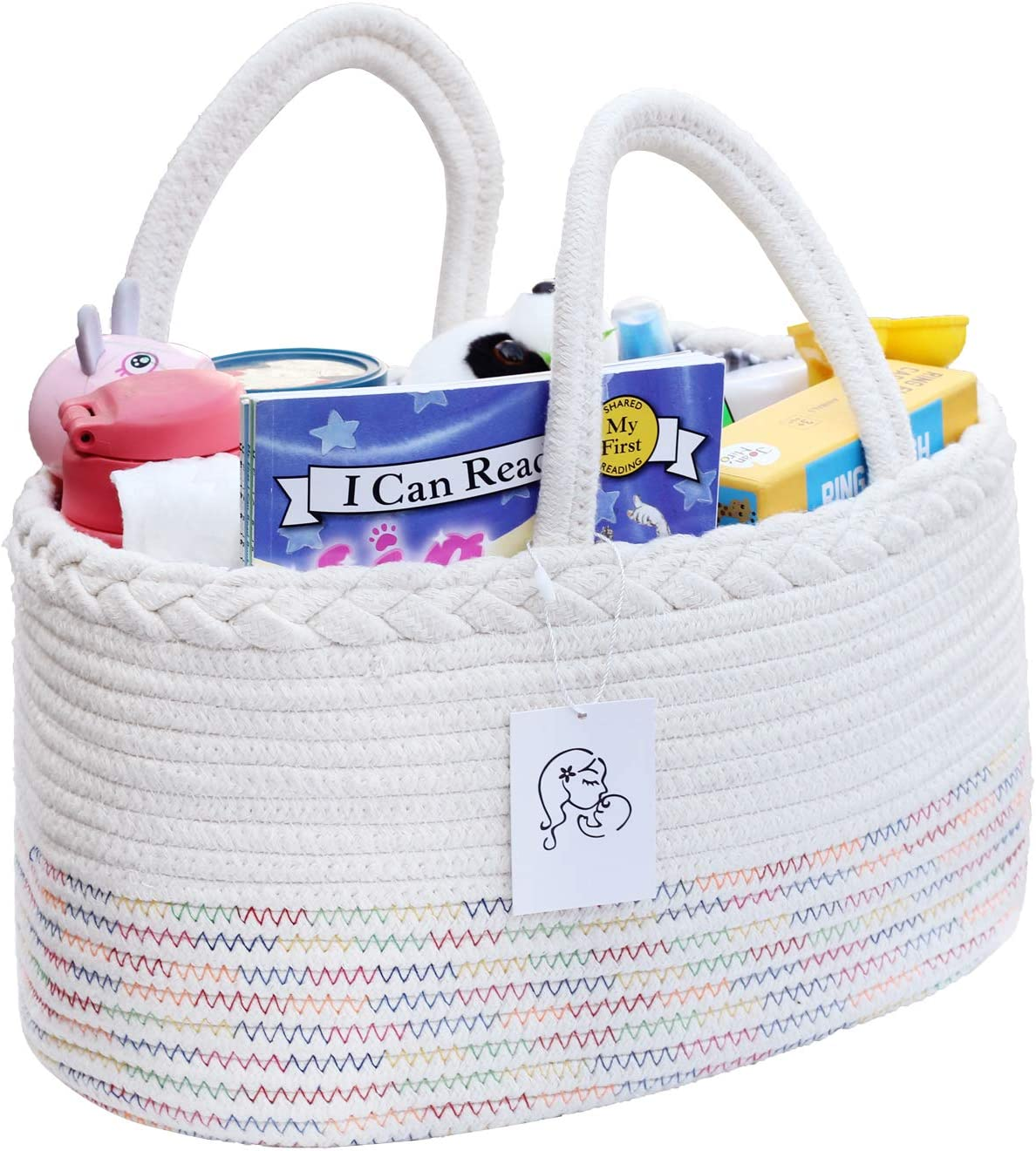 Baby Diaper Caddy Organizer, Nursery Storage bin for Toy Diaper Holder Bag for Changing Table Car Newborn Shower Gift Basket for Boys Girls Portable Cotton (Multicolored)