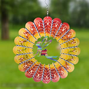 FENDISI Stainless Steel Wind Spinner- 3D Indoor Outdoor Garden Decoration Crafts Ornaments