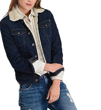 mejor sitio web aaf74 b98bd Pepe Jeans Cazadora Vaquera Borreguillo Core Mujer - Color ...
