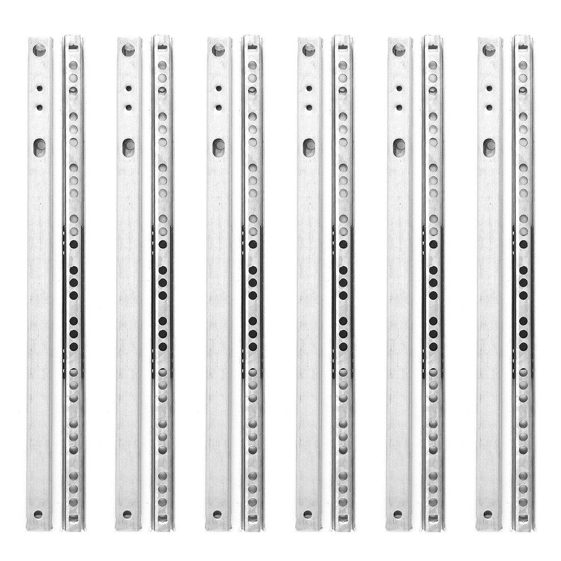 SODIAL 6 Pairs Metal Ball Bearing Drawer runner Pr 310mm draw depth for 17mm R
