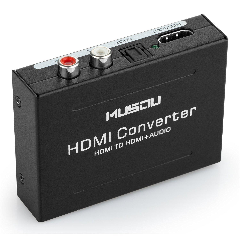 Musou Convertitore da Hdmi a Hdmi + audio, HDMI audio e video splitter, diviso diventare HDMI + RCA, HDMI a HDMI + SPDIF / Toslink + L / R, Extractor audio adattatore e Video convertitore, Supporto 3D 1080P Hi-Fi musica, Nero YP7-MB8-JJ-S-B
