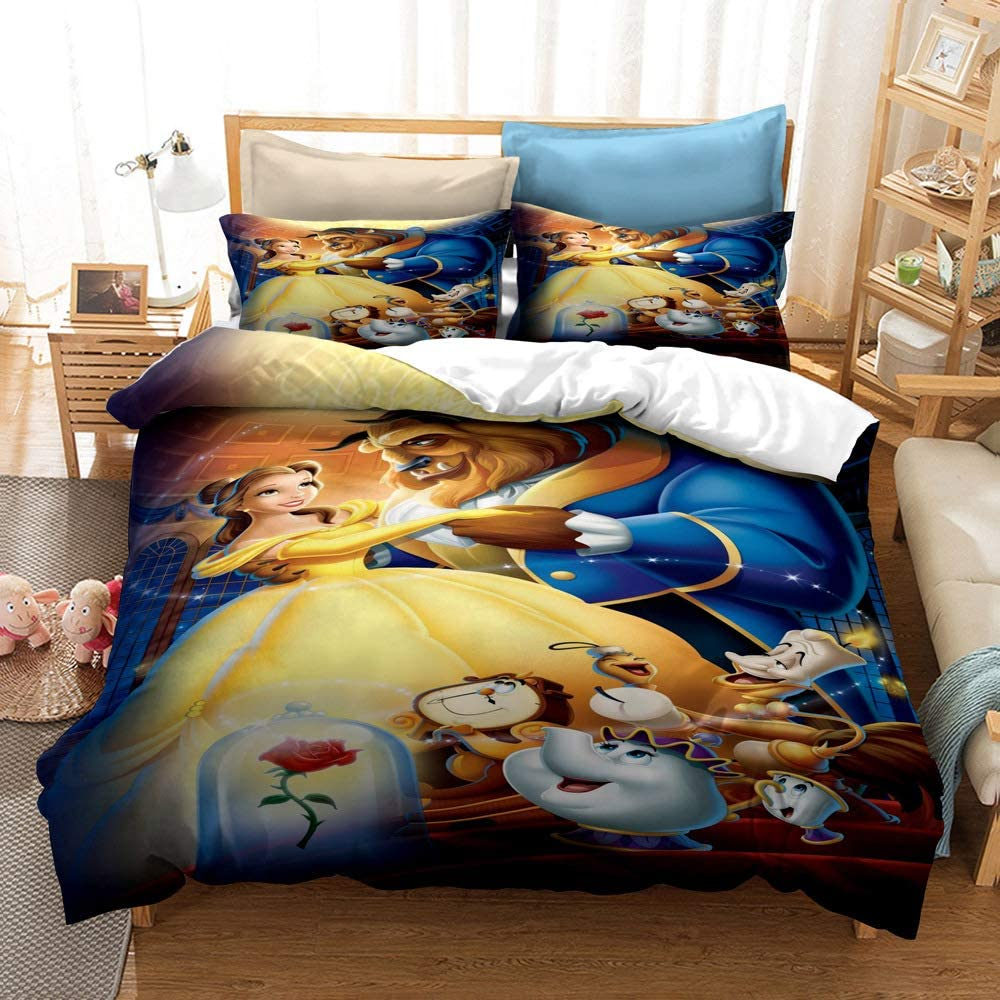 Amazon Com Mulmf Princesses Duvet Cover Set Beauty And The Beast Kids Bedding Movie Characters 2 Pieces Twin Size Home Kitchen