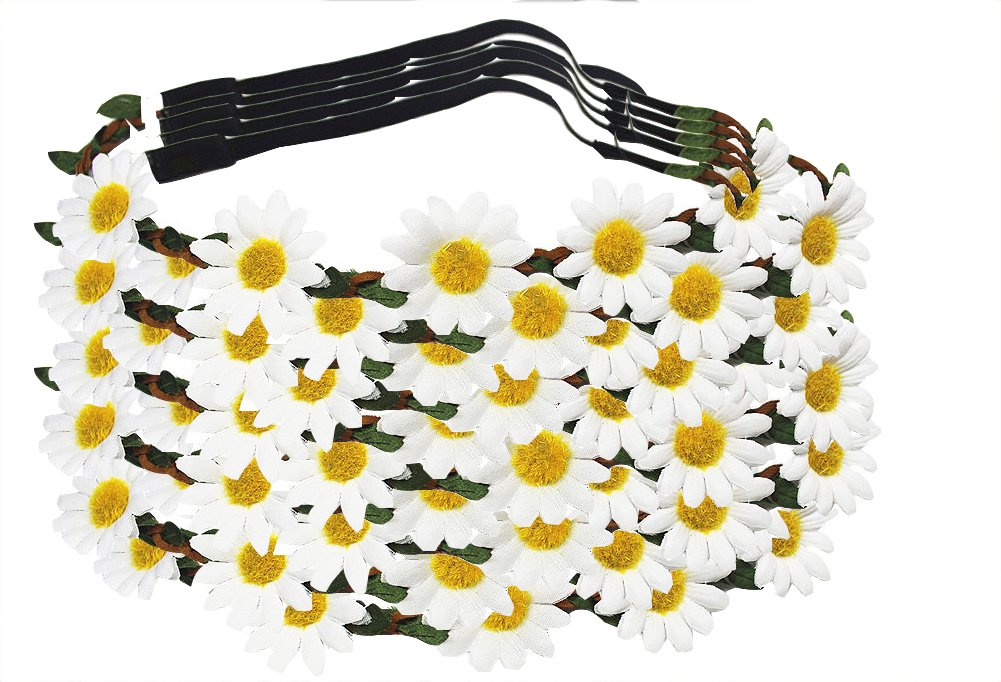LD DRESS Women Bohemian Floral White Daisy Flower Elastic Headband Headpieces (10 Whiet)