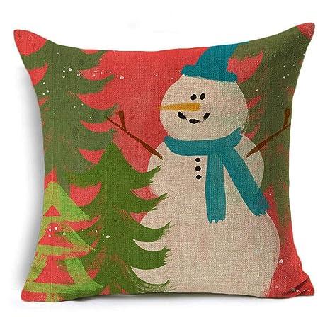 WJ - Funda de Almohada de Lino, diseño de árbol de Navidad ...