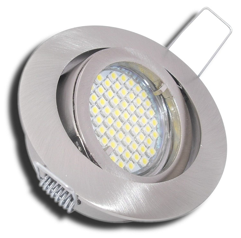 4 Stück SMD LED Einbaustrahler Lana 230 Volt 5 Watt Step Dimmbar Schwenkbar Edelstahl geb.   Neutralweiß