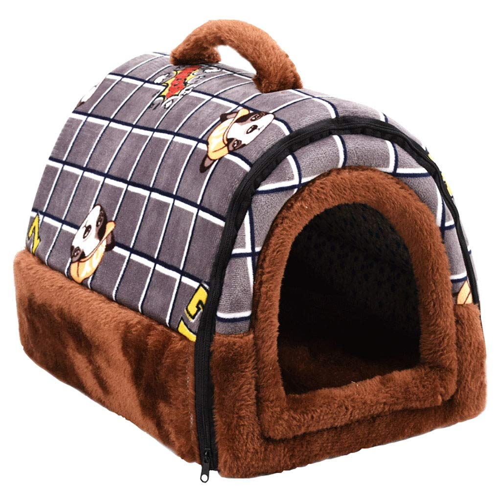 A 382726Pet house Cat nest kennel Small dog Closed type Washable pet nest Pet mat Pet bed Warm cosy Two usage Four seasons available (color   B, Size   51  39  35)