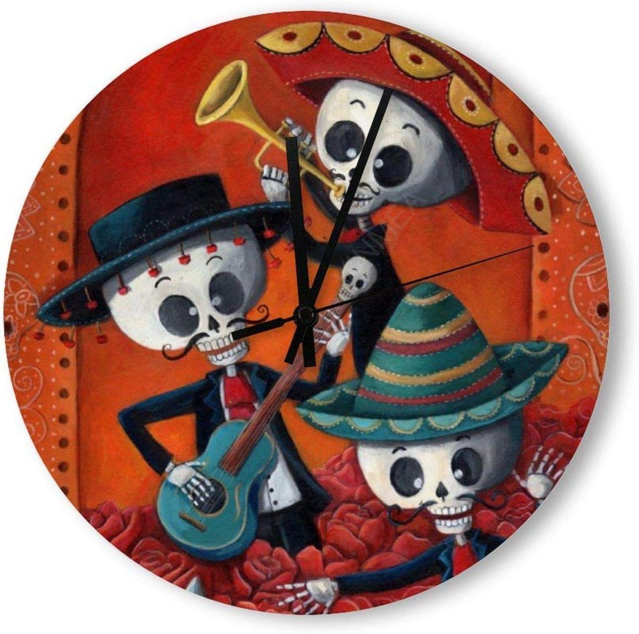 VinMea Decorative Wall Clock Silent Non Ticking Dia De Los Muertos Skeleton Mariachi Trio Home Decor Wall Clock Round 12 Inches