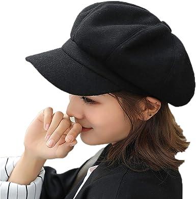 Amazon.com: Cicilin Women Newsboy Cap Beret Visor Wool Blend Fashion  Vintage Cabbie Cap Hat Black: Clothing