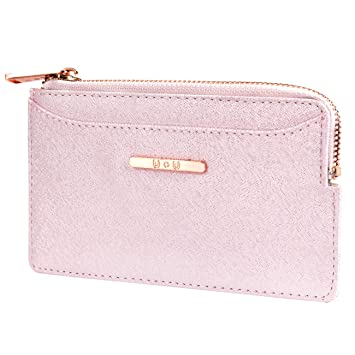 31904759f0 Womens RFID Blocking Slim Coin Purse - Small PU Leather Card Holder Zip  Wallet Christmas Gifts- Glitter Pink