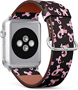 S-Type Leather Bracelet Watch Band Strap Replacement Wristband Compatible with Apple Watch 4/3/2/1 Sport Series 38mm 40mm 42mm 44mm - Pink Ribbon Pattern Breast Cancer Awareness