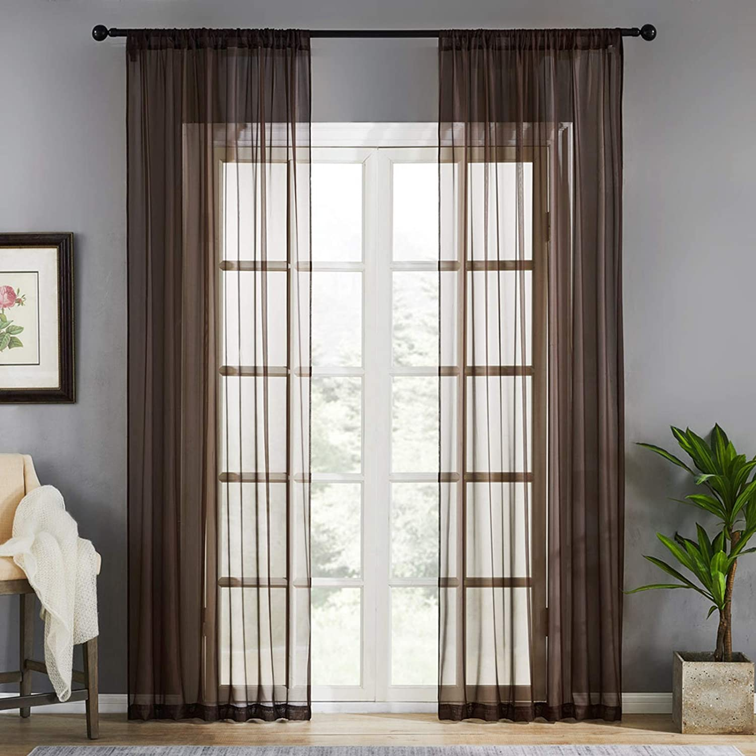 MRTREES Sheer Curtains Living Room 84 inch Length Bedroom Sheers Voile Curtain Panels Light Filtering Drapes Window Treatment Set Rod Pocket 2 Panels Coffee Brown
