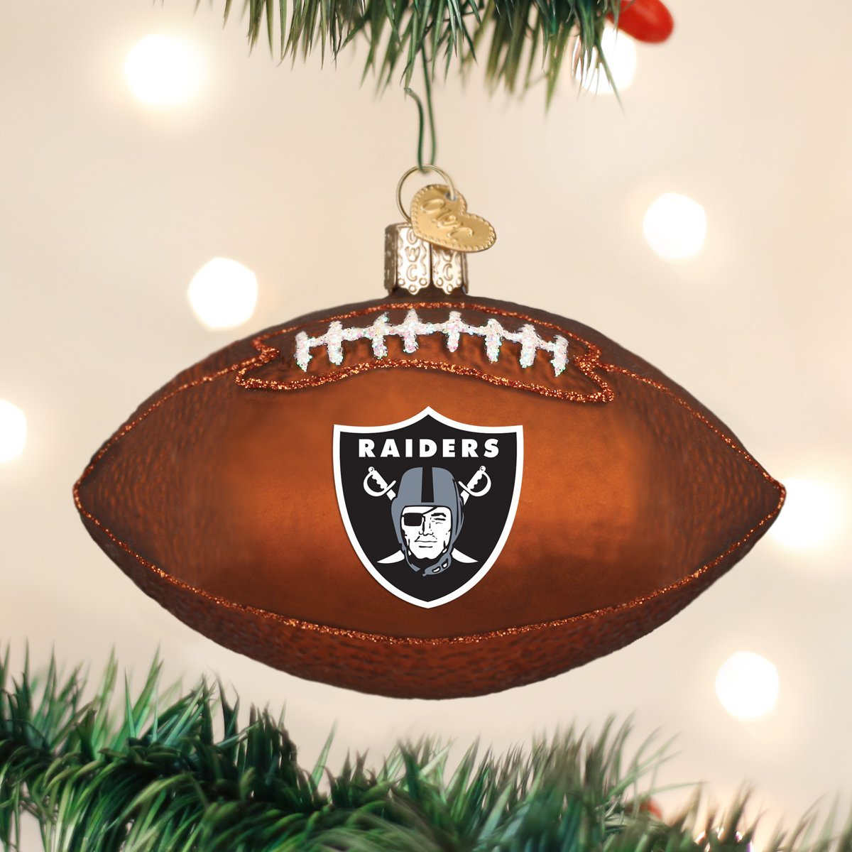 Amazon.com: Old World Christmas Glass Blow Ornament Oakland Raiders ...