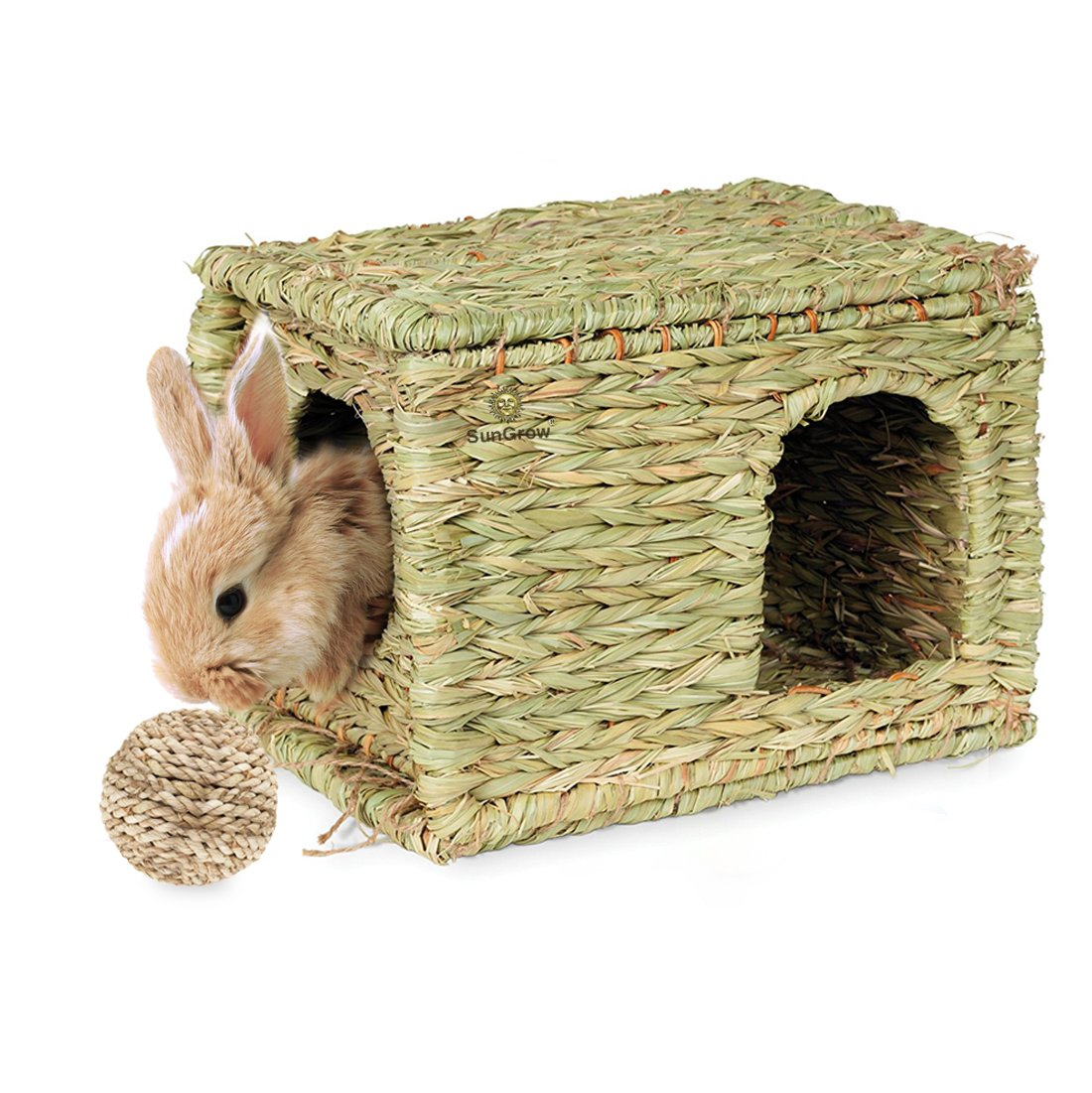 SunGrow Folding Woven Grass House for Rabbits, Guinea Pigs, Bunnies : Provides Comfort, Warmth & Security by Satisfying Natural Instincts: Multi-Utility, Edible, Non-Toxic, Chew Toy for Small Animals by SunGrow (Image #6)