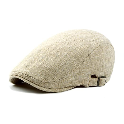 4b6f7c1c081 Linen Newsboy Cap Solid Color Irish Hats Classic Gatsby Ivy Flat Golf  Driving Hat - Beige