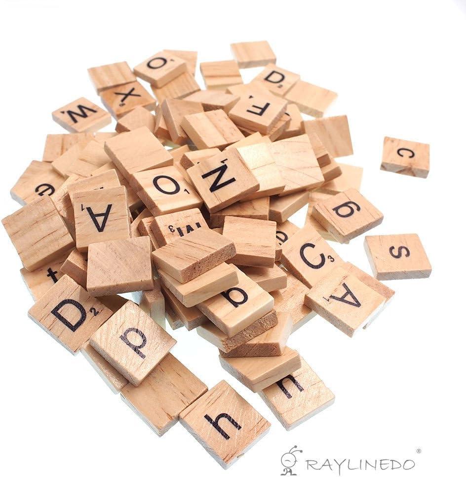 Raylinedo 200 x Letras de madera para Scrabble Scrabbles número Crafts Inglés palabras letras mayúsculas y minúsculas Mixed: Amazon.es: Juguetes y juegos