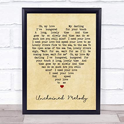 Amazon.com : Unchained Melody Vintage Heart Quote Song Lyric ...