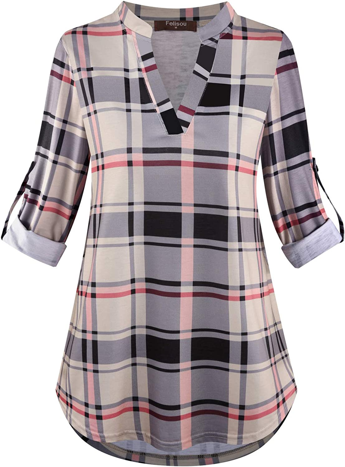 Felisou Womens V Neck 3/4 Roll Sleeve Loose Tops and Blouses Long Sleeve Plaid Shirts