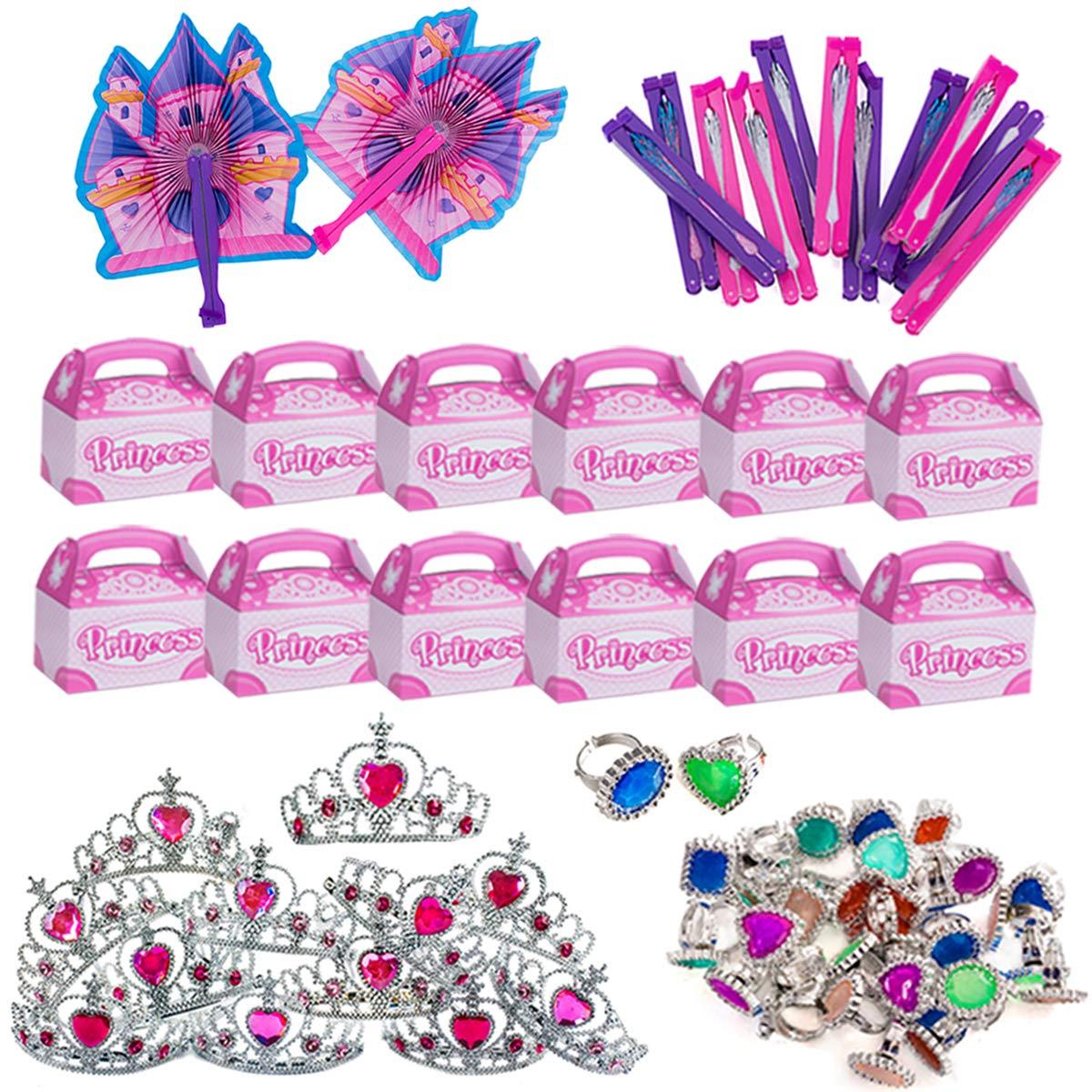 Funny Party Hats Princess Party Supplies - Party Favors - 72 Pc Set - Tiaras, Princess Fans, Treat Boxes & Princess Rings by Funny Party Hats