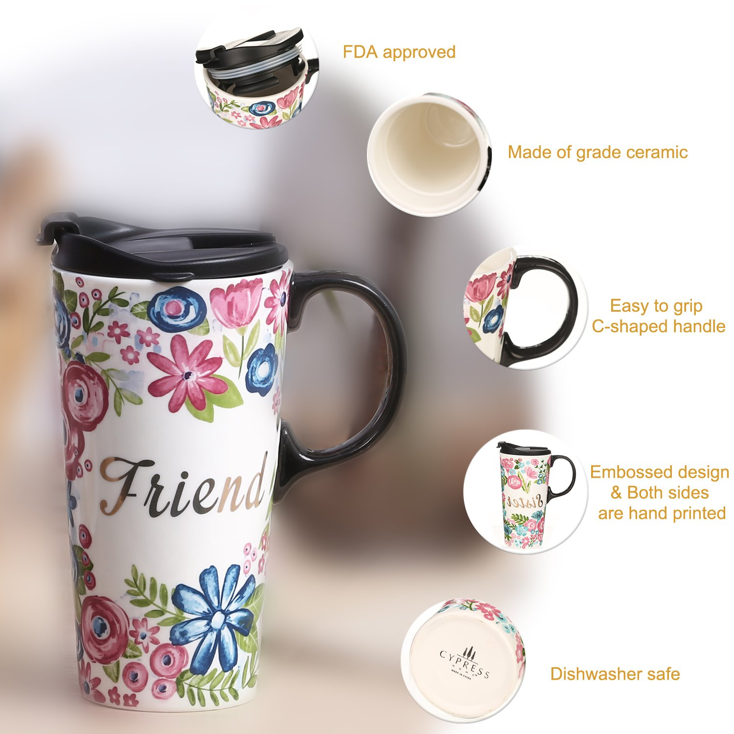 CEDAR HOME Travel Coffee Ceramic Mug Porcelain Latte Tea Cup With Lid in Gift Box 17oz. Sister & Friend, 2 Pack by CEDAR HOME (Image #2)