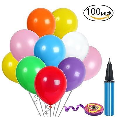 100Pcs Assortiment de Ballons, Ballon Gonflable avec Pompe à Ballon et Ruban de Satin, Ballons Colorées pour Fêtes, Anniversaires, Party, Ballons Gonflables, 30 cm Ballons en Latex, Couleur Aléatoir