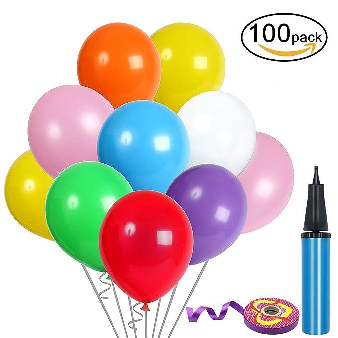 4 opinioni per 100 Pz Palloncini Colorati Compleanno, 12 pollici Lattice Palloncini e Pompa e