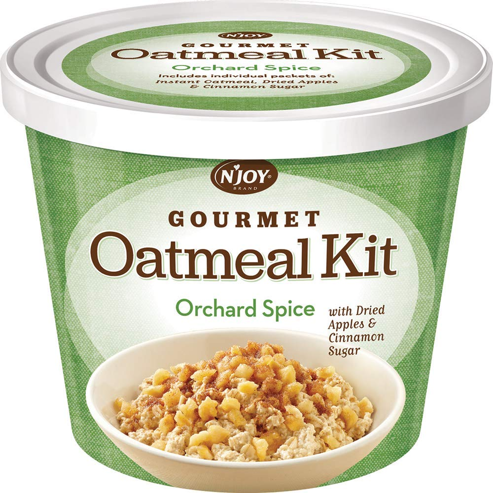 N'Joy Gourmet Oatmeal Kit   Orchard Spice with Dried Apples & Cinnamon Sugar   Pack of 8   High Source of Fiber
