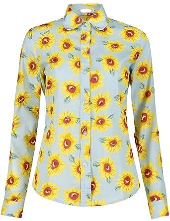 dd32021d49d DOKKIA Women s Casual Tops Long Sleeve Sunflower Work Button Down Dress Shirts  Blouses (Small