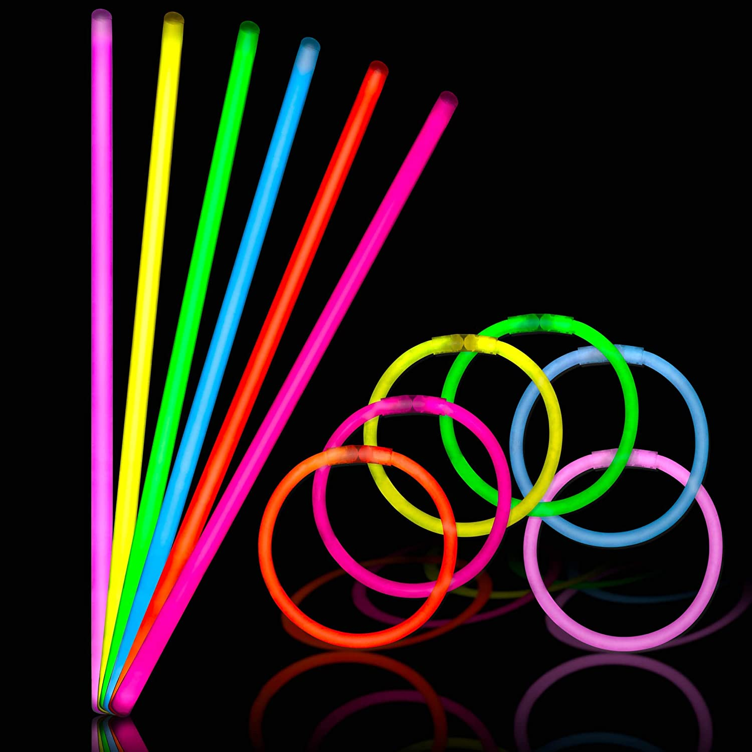 150 Glow Sticks Bulk Pack Party Glowers 8 Inch Ultra Bright Glowsticks Necklaces And Bracelets Glow Stick 10 Hour Duration Mixed Colors With 150 Connectors In 3 Tubes