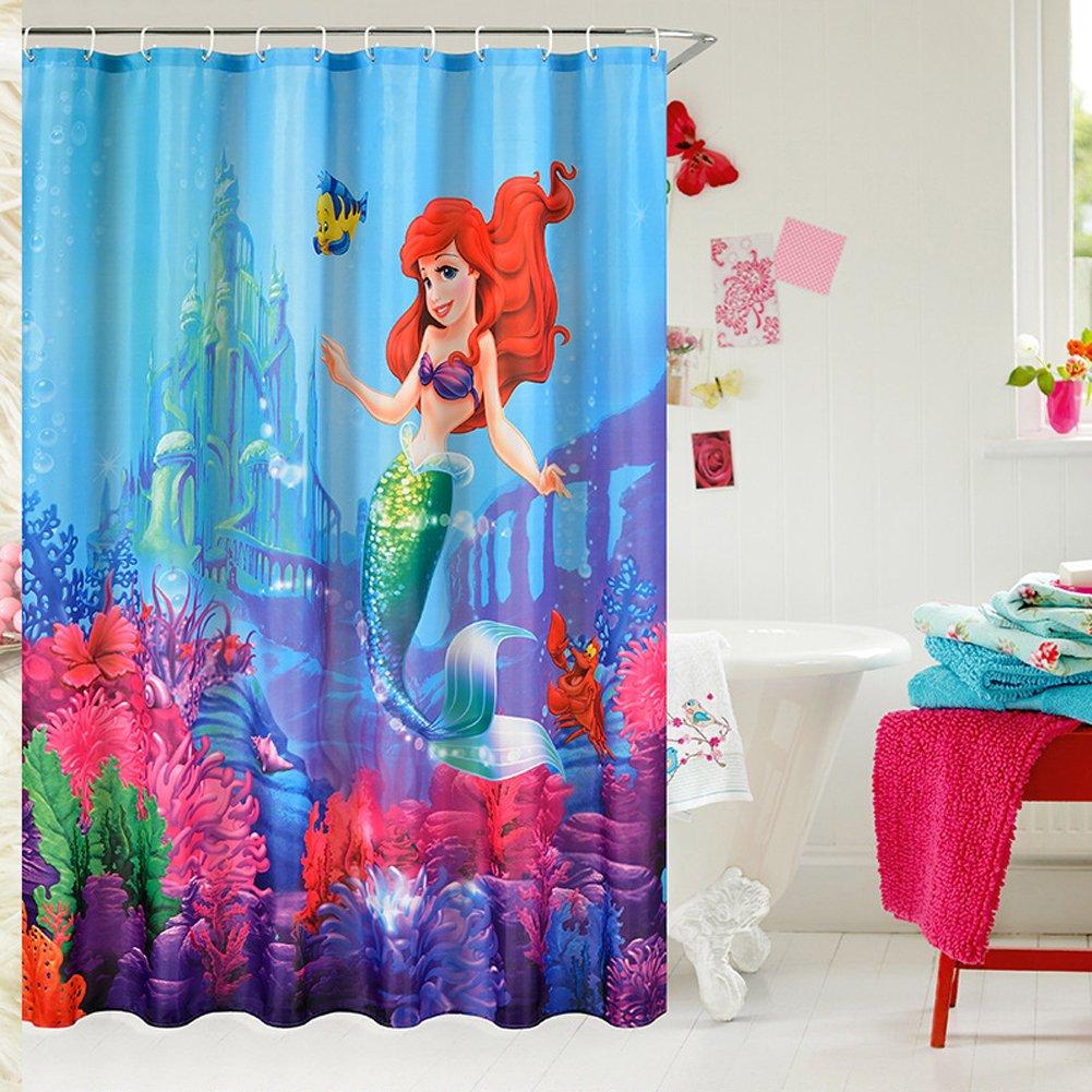 "E-gift Beautiful Little Mermaid Castle Custom Shower Curtain 72"" x 72"""