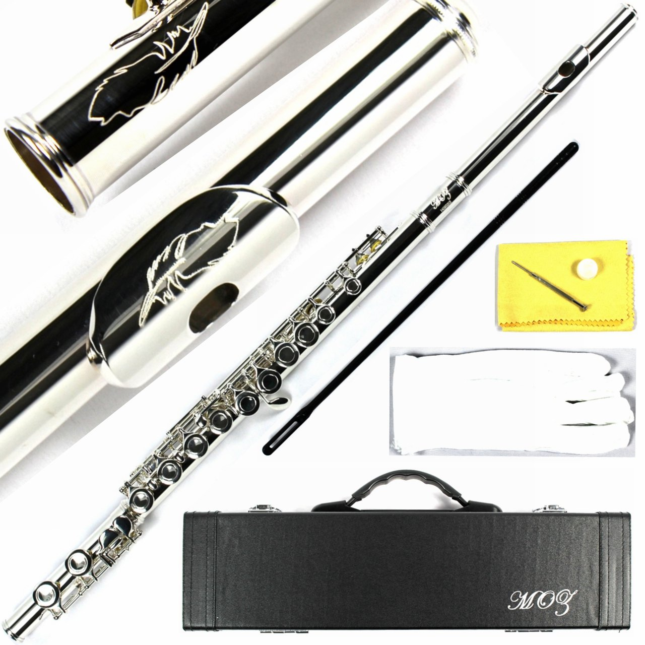 Engraved Design Italian Pads 16 Keys Close Hole Silver Plated C Flute Moz