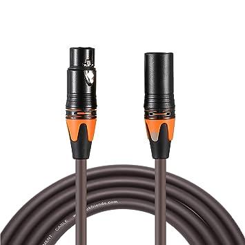 Cable de conexión XLR macho a hembra para micrófono/micrófono equilibrado, marrón, por