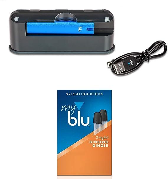 Myblu - Estuche de viaje con batería externa de 3000 mAh, con cigarrillo electrónico, color azul, con aroma Ginseng sin nicotina, lápiz táctil original LK Soft: Amazon.es: Salud y cuidado personal