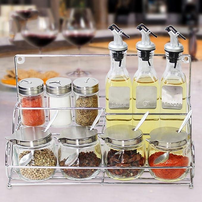 LICCC Glass Cruet Jar Caja de Especias Salsa de Soja Vinagre ...