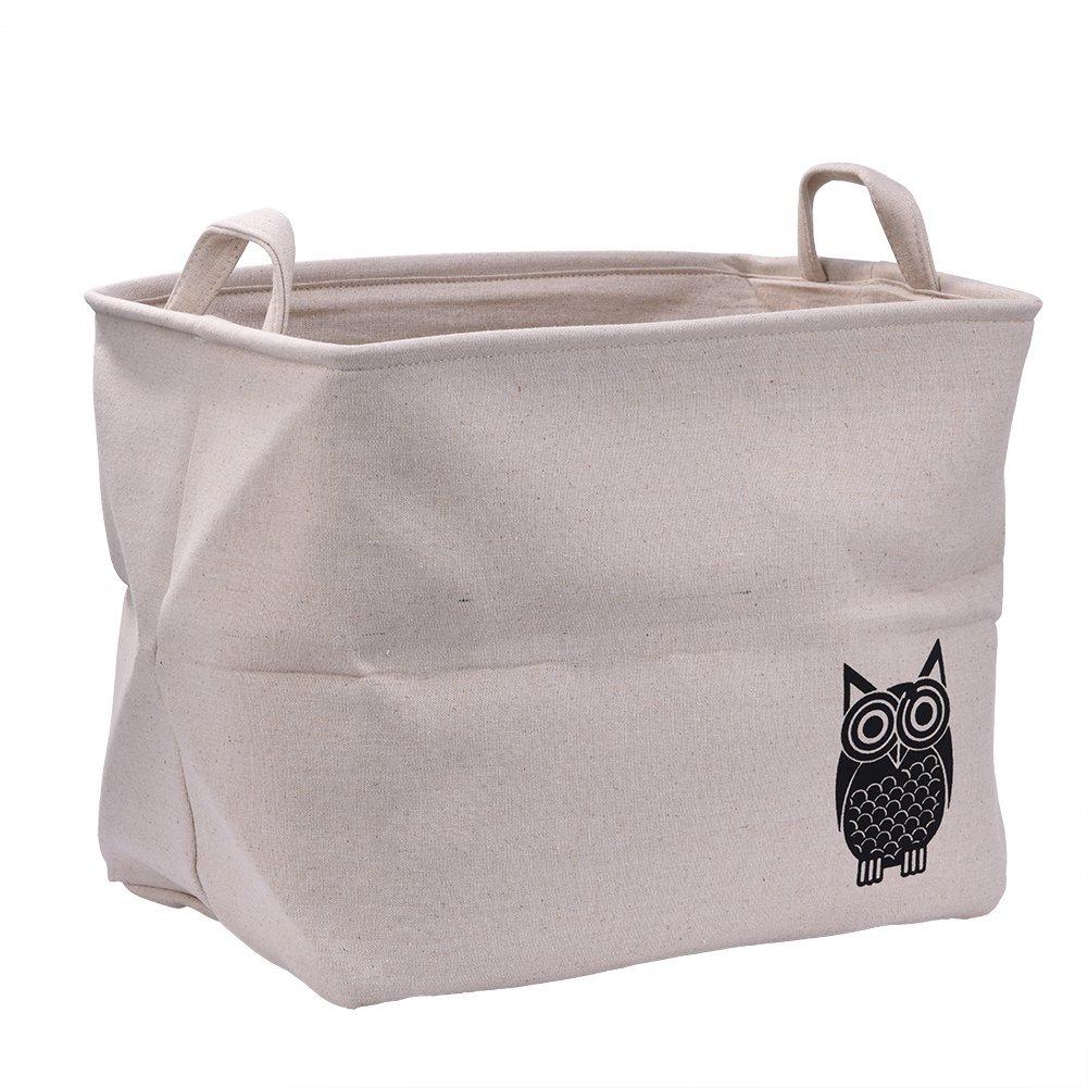 Samber PlainCotton&LinenStorageBasketClothesStoringBox AnimalPattern ToysBooksStorageBins CollectingCase (Large-Owl)